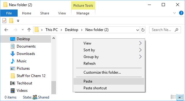 Paste Photos Into Folder on Windows Computer