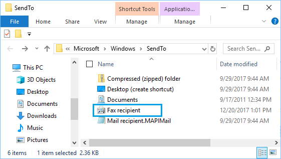 Remove Shortcut From SendTo Folder in Windows 10