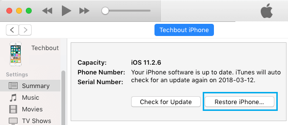 Restore iPhone Option in iTunes