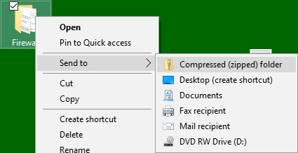 Send to Compressed Zip Folder Option in Windows 10