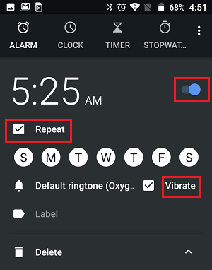 Time Alarm Repeat and other Settings on Android Phone