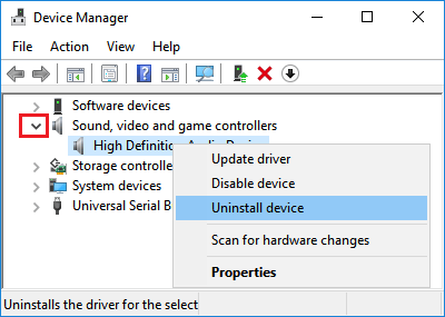 Uninstall Audio Device in Windows 10