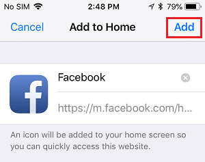 Add Facebook to Home Screen on iPhone