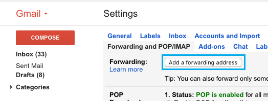 Add a Forwarding Address Option in Gmail
