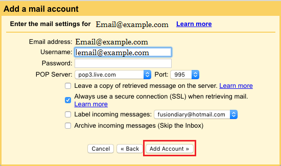 Add Email Account For Data Transfer By POP in Gmail