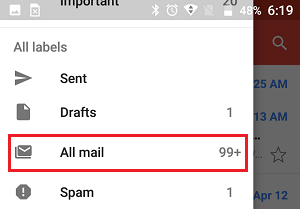 All Mail Tab in Gmail App