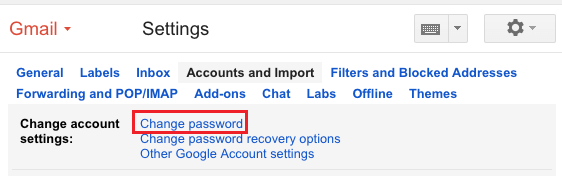 Change Password Link in Gmail
