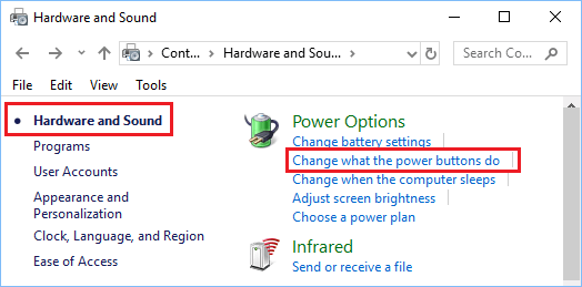 Change What Power Buttons Do Option in Windows 10
