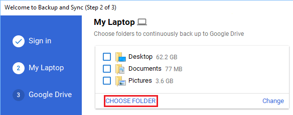 Choose Folder Option in Backup and Sync Tool