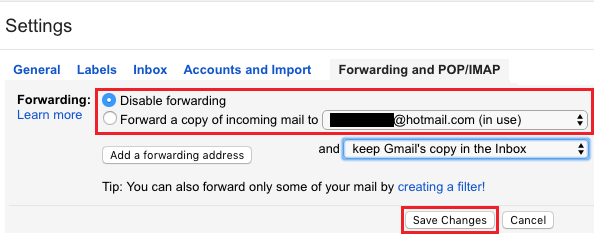 Disable Email Forwarding in Gmail