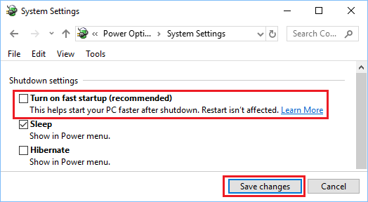 Disable Fast Startup Option in Windows 10
