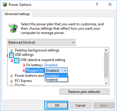 USB Selective Suspend Settings Option in Windows 10