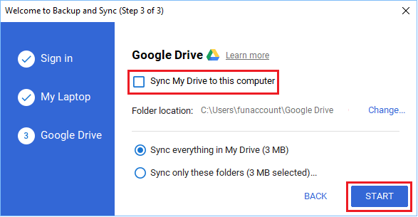 Disable Sync My Drive to this computer option