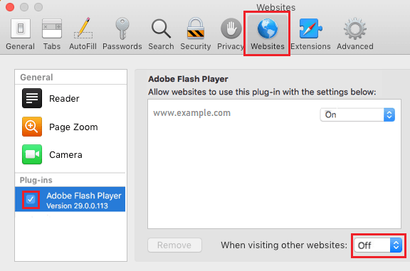 Enable Flash Player in Safari Preferences Screen on Mac