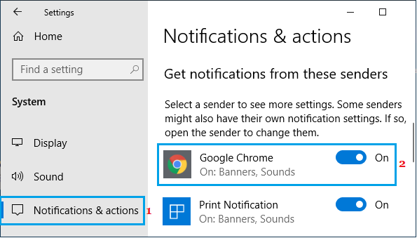 Enable Google Chrome Notifications on Windows PC