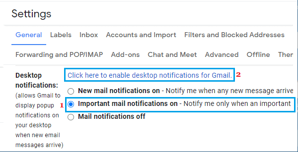 Enable Important Gmail Notifications on Computer