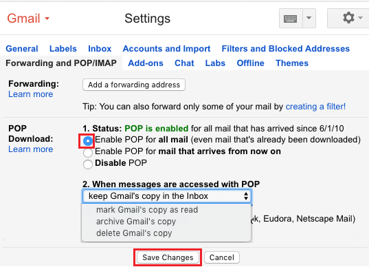 Enable POP For All Mail Option in Gmail