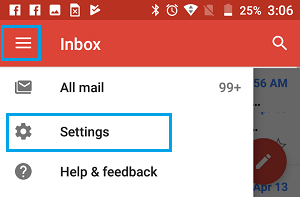 3-Line Menu Icon and Gmail Settings Option on Android Phone