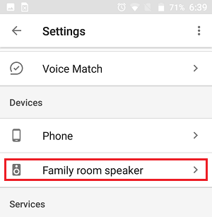 Google Home Device in More Settings Screen in Google Home App