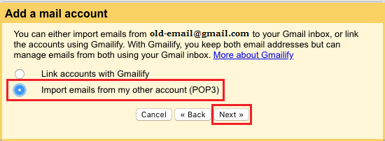 Import Emails from my other account (POP3) option in Gmail