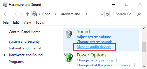 Manage Audio Option in Windows Control Panel