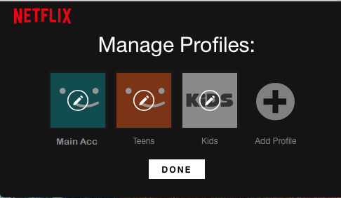 Manage Profiles Screen in Netflix
