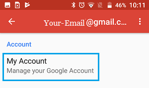 Manage Your Account Option in Gmail Android Phone