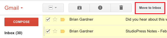Move to Inbox button in Gmail