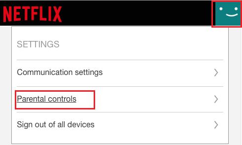 Parental Controls Setting Option in Netflix