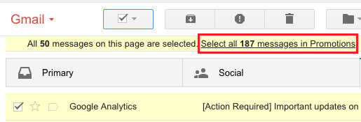 Select All Messages Link in Gmail
