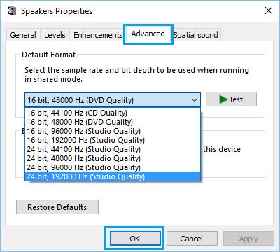 Set Sound to 24 bit,192000 Hz Studio Quality