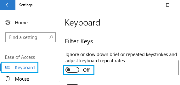 Disable Filter Keys in Windows 10