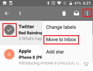 Unarchive Emails in Gmail App on Android Phone
