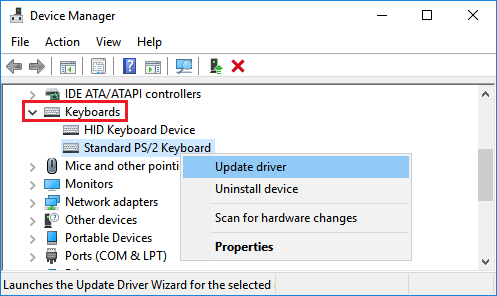 Update Driver For Keyboard in Windows 10