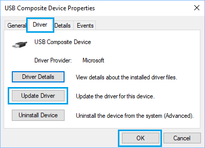 Update Driver Option in Windows 10