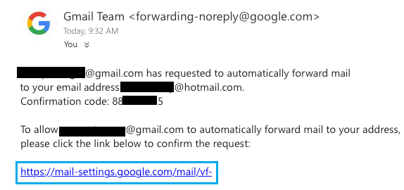 Google Email Forwarding Verification Link