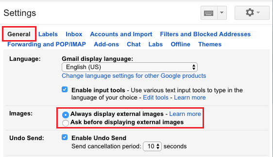 Always display external images option in Gmail Settings