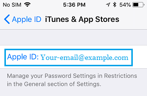 Apple ID on iTunes and App Store Settings Screen