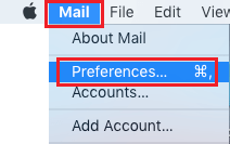 Mail Preferences Option on Mac