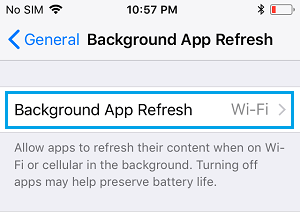 Background App Refresh Settings Option on iPhone