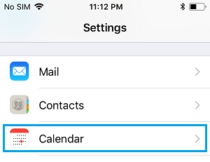 Calendar Option on iPhone Settings Screen