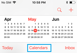 Calendars Tab on iPhone Calendar App