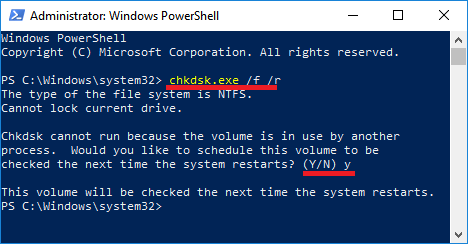 Run chkdsk command in Windows PowerShell
