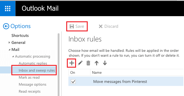 Inbox and Sweep Rules Option in Outlook Mail