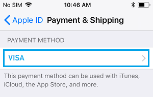 Method of Payment Option on iPhone