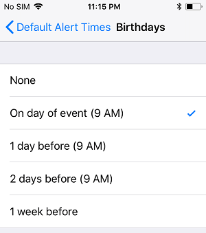 Choose Birthday Notification Time on iPhone