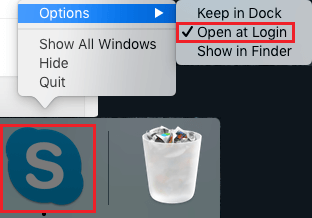 Keep Skype Open at Login Option on Mac
