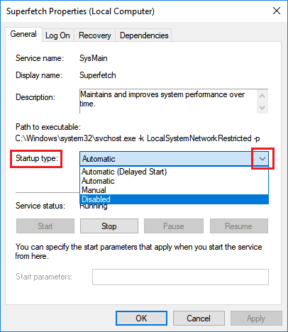 Disable Superfetch in Windows 10