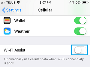 Disable WiFi Assist on iPhone