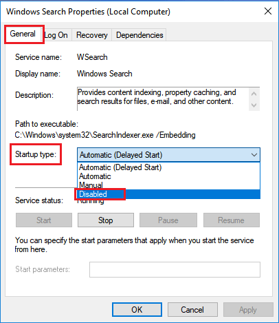 Disable Windows Search Service